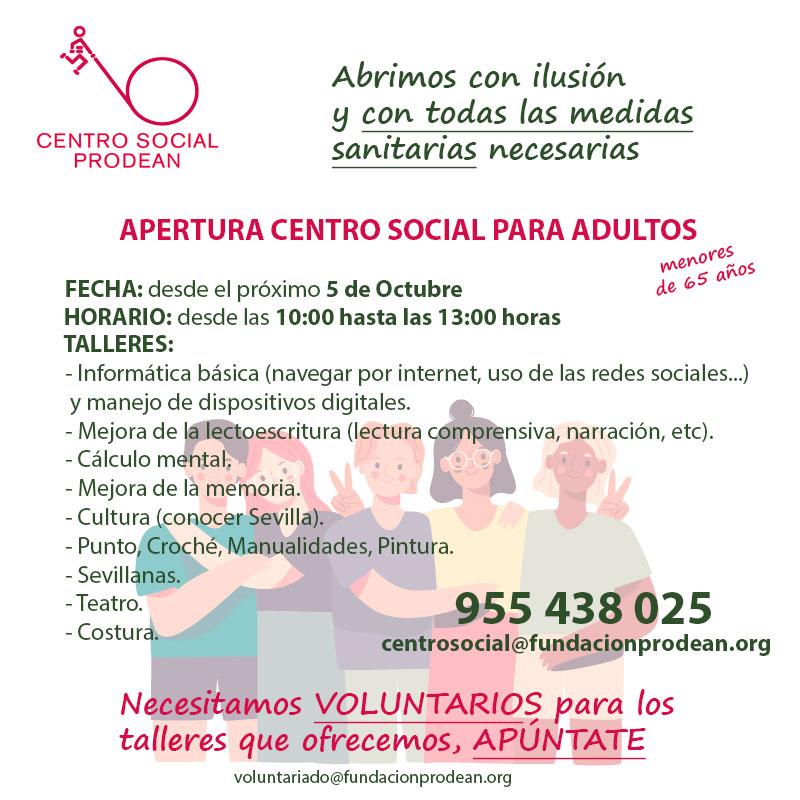 Apertura Centro Social para adultos 20020-21